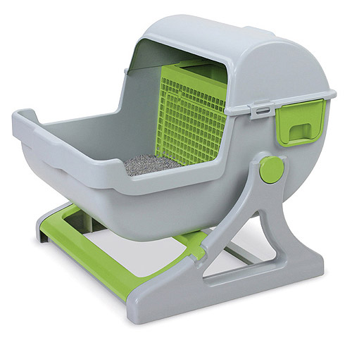 This one is all kinds of wrong. A baby carriage for your cat to crap in. Awesome. I hope it doesn't rock.
